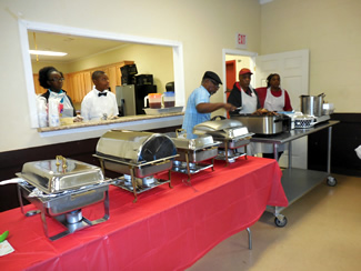 Horace James and serving line Meet Great and Feast 2015