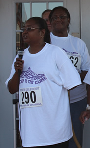Kathy Ware of WIN providing opening remarks at Notasulga WIN 3-mile Steps to the Cure cancer walk